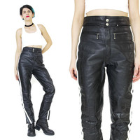 Womens Black Leather Motorcycle Pants 1990's Leather Biker Pants Quilted Skinny Leather Pants Racing White Side Stripes Moto Sporty (M)