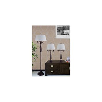 Fangio 3 Piece Traditional Table Lamp and Floor Lamp Set with Empire Shade (Antique Brown)