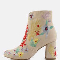 Faux Suede Floral Ankle Boots NUDE