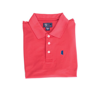 Mississippi Oxford Clubhouse Performance Polo Red