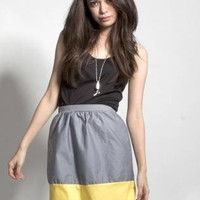Grey High Waist Colorblock Skirt with Yellow Hem