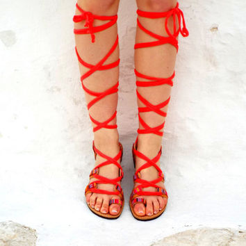 "Coral Sandals, lace up Sandals, Ancient Greek Sandal, barefoot,Genuine leather shoes, ""Happy coral"" Summer shoes"