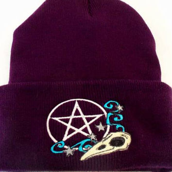Raven Skull Pentacle  Beanie Hat Wiccan Clothing Pagan Clothing Wicca