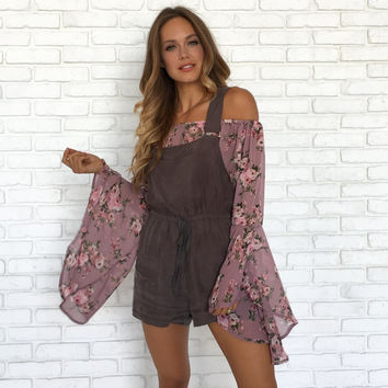 Fig & Charcoal Silk Romper & Short Overalls