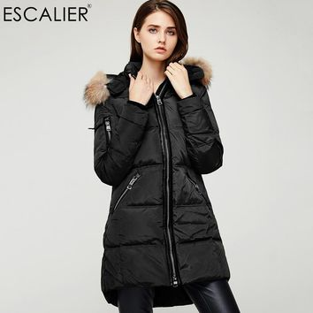 Women New Winter Down Jacket Removable Raccoon Fur Hooded Real Collars Feather Outwear