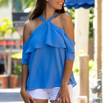 Let's Do Brunch Blue Ruffled Top Shop Simply Me Boutique Shop SMB – Simply Me Boutique