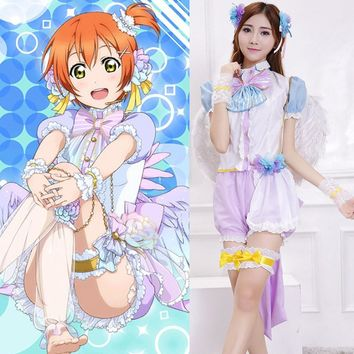 Anime Lovelive! Hoshizora Rin White Valentine's Day Angels Awakening Uniform Cosplay Costume Love Live Full Set Lolita Dress