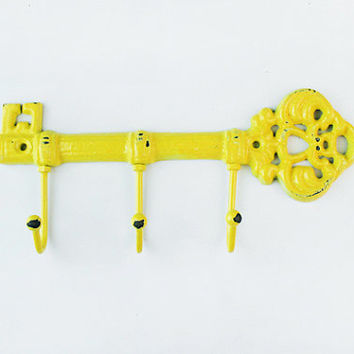 Skeleton Key Hook / Key Hanger/ Wall Hook / Shabby Cottage Chic / Bright Sun Yellow / Housewarming Gift