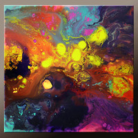 Abstract Canvas Art Painting 12x12 Original Contemporary Paintings by Destiny Womack - dWo -  Lost in Space I
