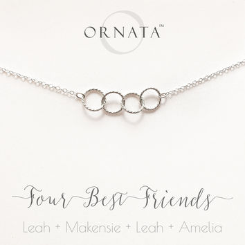 """Four Best Friends"" Personalized Sterling Silver Necklace 