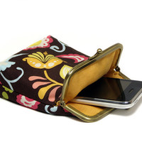 IPhone 5 Case / Fabric Cigarette Case - Brown and Colorful Paisley - Antique Bronze Frame