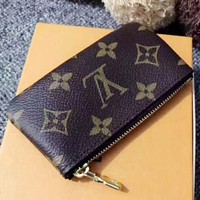 DCCKB62 Louis Vuitton Women Men Fashion Print Monogram Canvas Key Pouch M62650 Coffee G
