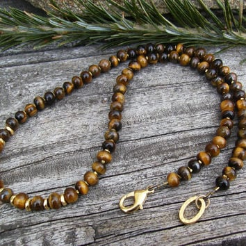 Men's Tiger Eye Necklace, Gold Beads, Karen Hill Tribe Beads, Elegant, Sophisticated, Unisex Jewelry, Brown Gemstone Necklace, Gift Idea