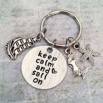 Keep Calm And Sail On Keychain, Sailing Keychain, Sailor Keychain, Ocean Accessories, Pirate Accessories, I Love The Sea Accessories