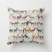 oatmeal spice deer Throw Pillow by Sharon Turner