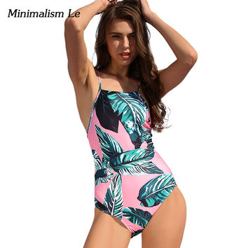 Minimalism Le One Piece Swimsuit 2017 New Print Sexy Women Swimwear Brazilian Biquini Small Fresh Beach Bathing Suits BK659