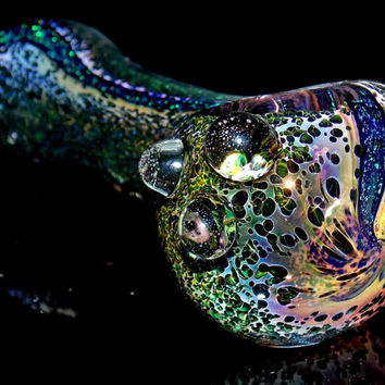 Volcanic Daze - Heady Hot Pink Fumed Volcano Frit and Dichroic Glitter Glass Spoon Pipe Color Changing Smoking Bowl