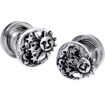 0 Gauge Cosmic Sun and Moon Screw Fit Tunnel Plug Set