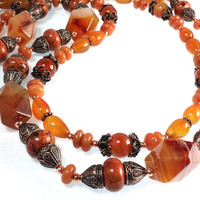 Red Agate Necklace, Fall Necklace, Mixed Gemstones, Two-Strands, Copper