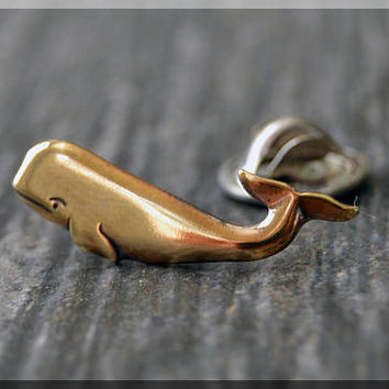 Brass Whale Tie Tac, Sea Creature Lapel Pin, Animal Lover Brooch, Gift for Him, Gift Under 10 Dollars, Tie Tack, Whale Unisex Pin