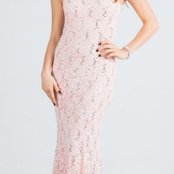 Blush Cap Sleeves Fit and Flare Long Formal Dress Lace Cut Out Back