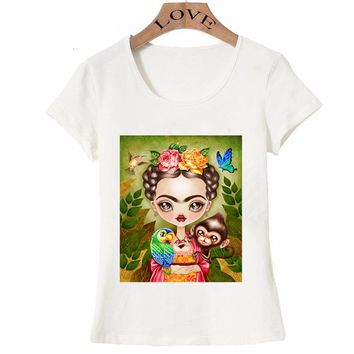 2017 newest Frida Kahlo T-Shirt harakuju Women's short sleeve F for frida T-Shirt variety of styles hipster Tops cute girl Tees