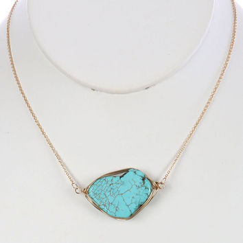 """14"""" natural stone pendant wire wrapped necklace"""