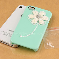 Cute Mint Green Crystal Rhinestone Pearl Flower Hard Case For iPhone 4 4S + Film