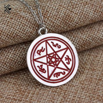 Supernatural Dean Winchester Pentacle Star Amulet Red Enamel Pendant Necklace Vintage Silver Plated Chain Statement Necklaces