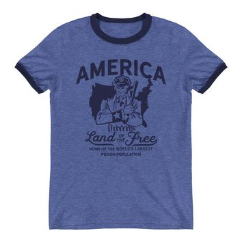America Land of the Free Retro Ringer T-Shirt