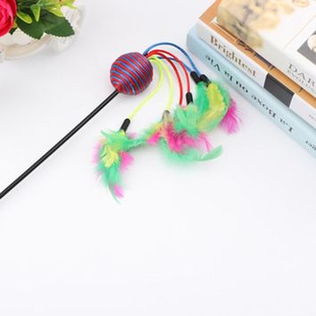 New Color random 47 cm Tease Cat Sticks Colorful Cat Rod Cats Trainning Toys Cat Catch Rod with Feathers and Rattan ball