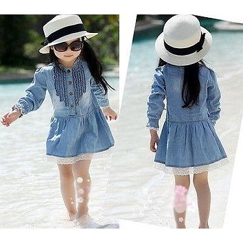 2018 Girl Kids Dress 2-8Y Lovely Denim Blue Beautiful Lace Cowboy Clothes Long Sleeve Casual Dress