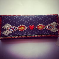 Pretty little heart beaded clutch bag, hand beading, embellishment detailing. Ladies Evening bag.