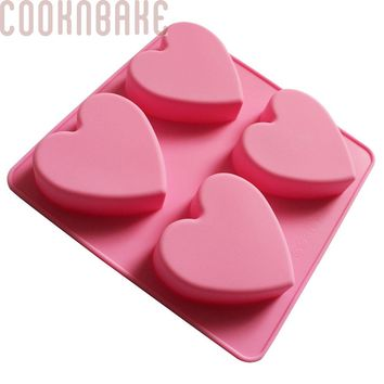COOKNBAKE DIY Silicone Mold for Handmade Soap Cake 4 Holes Heart    SSCM-001-23