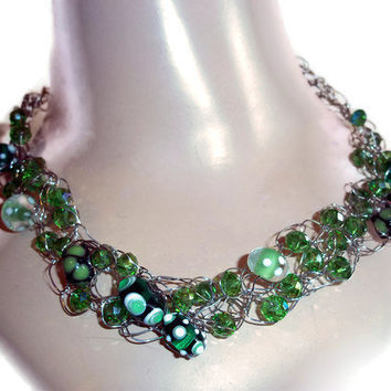 Glass Bead Necklace Green Some Beads With Designs  Crochet Chain