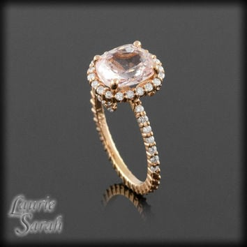 Rose Gold Engagement Ring - Oval Cushion Cut Pink Sapphire Engagement Ring with Diamond Side Halo and Band - LS2565