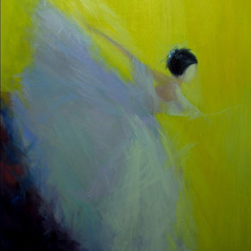 Contemporary Yellow Canvas Art - Ballerina Art Print - Abstract Ballerina Canvas Wall Art Dancer Poster