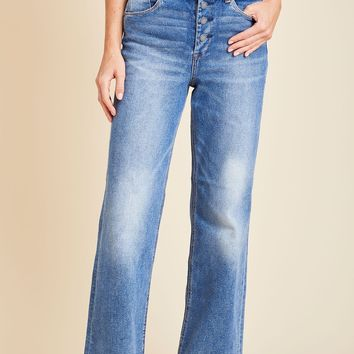 Blank NYC Wall Street Ankle Length Wide Leg Button Front Jeans