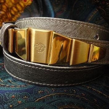 Vintage Gianni Versace skinny gold bronze leather belt with golden hardware and medusa