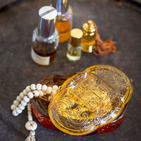 Clear Glass Amber Jewelry Box