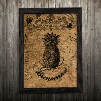 Pineapple poster Fruit print Burlap print Kitchen decor BLP783