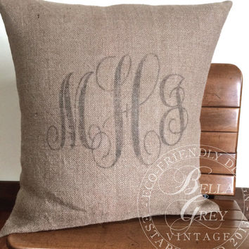 Monogramed Burlap Pillow Cover - Personalized Graduation Gift - Initials - Wedding Gift - Hessian Pillow - Couple's Initials - Bridal Shower
