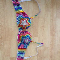 Rainbow Star Rave Bra