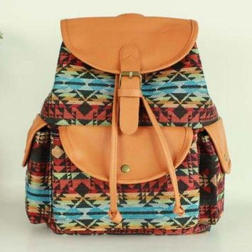 PEAPON Day First Tribal Aztec Travel Bag Canvas Lightweight College Backpack