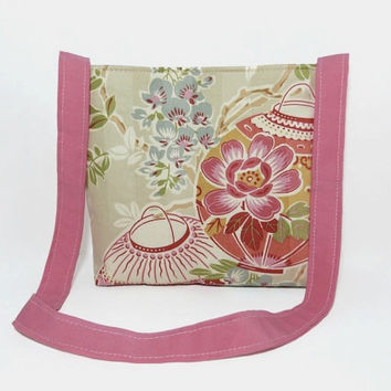 Small Floral Tote Bag, Pretty Shoulder Bag, Beach Bag, Cute Girl Accessory, Pink Lanterns, Green Tan and Blue, Eco-Friendly Diaper Bag