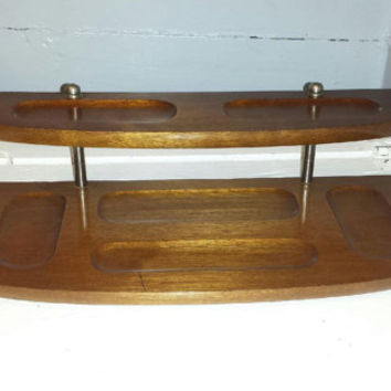 Vintage, Dresser Valet, Dresser Caddy, Desk Valet, Solid Wood, Two Tier, Mid Century Modern