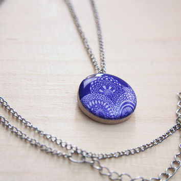 Purple Geometric Art  //  pendant necklace