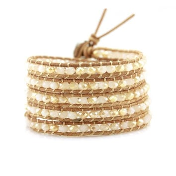 Champagne Crystals on Natural Leather Wrap Bracelet