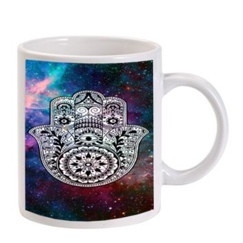 Gift Mugs | Hamsa Hand Tattoo Indian Nebula Ceramic Coffee Mugs