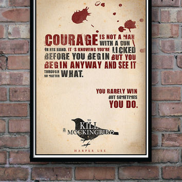 Quote Poster, To Kill a Mockingbird, Typographic Print, Wall Decor, Harper Lee, Literature Poster, Minimalist Print